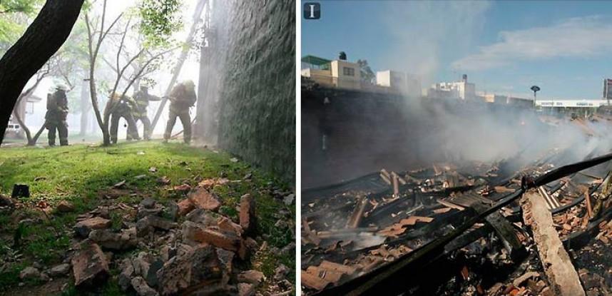 Incendio en bodega de plásticos en Huentitán, se quemaron 30 mil pares de chanclas.
